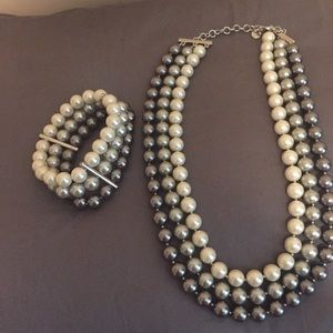 Jewelry - Triple Pearl bead strand necklace and bracelet.